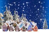 snowy village drawn by children