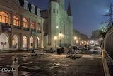 Empty New Orleans park near museum night