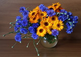 ^ Cornflowers Calendula bouquet