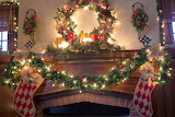 ^ Christmas mantel decorations