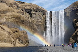 Iceland, rock face, waterfall, river, rainbow, nature
