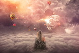 Girl, sky, clouds, hot air balloons, planet, fantasy