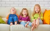 Boy, Sofa, Smile, Children, Girls, laughing, fun