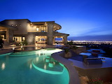 City view uxury modern mansion and pool at night