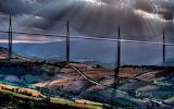Millau Viaduct over the Tarn River Valley near Millau. France