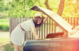 Girl, car, trees, foliage, fence, hat, polka dot, dress