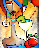 Abstract art - Lady in the bar colorful beautiful colors girl
