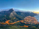 Aerial night scene Table Mountain overlooking Cape Town South Af