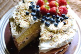 Cream cake with blueberries and strawberries