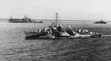 USS KIDD underway off of Roi 1944