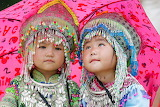 Asian children in traditional costumes