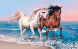 horses, sea