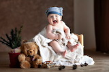 Baby happy, teddy bear, tree branches, toy car, child