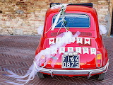 Just married red fiat 500
