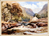 A Hilly River Landscape with a Cascade William James Muller