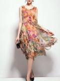 QinPei.er 'Floral Crew Neck Casual Sleeveless Asymmetrical Midi