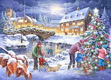 Colours-colorful-village-houses-people-christmas-tree-lights-pai