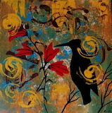 Crow Carrying Sun Medicine-OriginalContemporaryFolkArtPainting