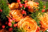 #Bouquet of Peach Roses and Berries