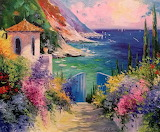 oil painting sea mountains flowers