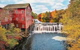 USA-Wisconsin-water-mill-river-waterfalls-trees-autumn