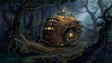 fantasy art-digital art-forest-trees-house-ladders-street
