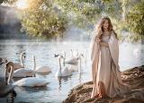 girl walking by the lake