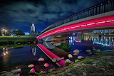 city, lighted bridge