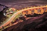 Night time traffic on the bridge