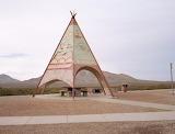 teepee-like structure off Interstate 10 in Sierra Blanca, Texas