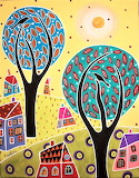 Two Trees Two Birds Landscape by Karla Gerard