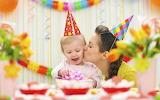 Girl, boy, child, mother, birthday, table, woman, hat, decoratio
