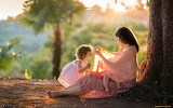 Woman, child, girl, baby, nature, tree, love, sweet, beautiful