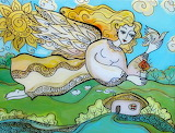 spring angel, Ukrainian glass painting