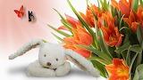 #Easter Bunny Toy & Gorgeous Orange Tulips