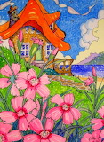 Sweet Cottage-sea-flowers-colorful-painting-by the Bay Storybook