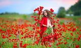 Flowers, nature, Maki, girl, child
