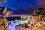 Amalfi coast villa and pool at night