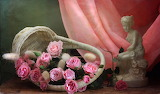 Flowers, basket, roses, fabric, figurine