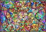 Disney characters stained glass