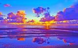 Colourful beach sunset