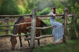Girl, nature, horse, dress, fence, nature, trees