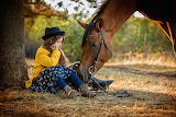 little girl, horse
