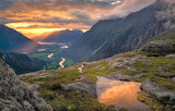 sunset valley in Norway