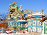 Russian cottage with snow