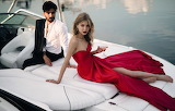 Glass, boat, pair, fashion, man, woman, red dress