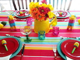 Tableware, table, striped tablecloth, jug, flowers, colored glas