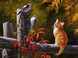Autumn Cat and Birds