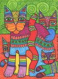 Laurel Burch Colorful Kitties