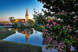 Church, chapel, landscape, reflection, river, tree, Denmark, Cop